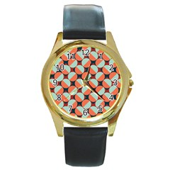 Modernist Geometric Tiles Round Gold Metal Watch by DanaeStudio