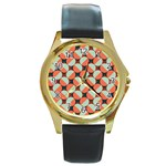 Modernist Geometric Tiles Round Gold Metal Watch Front