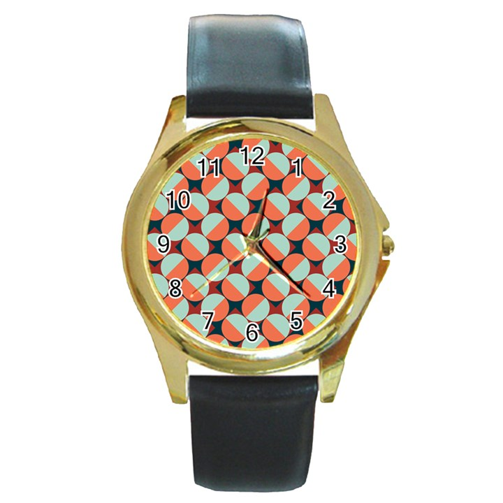 Modernist Geometric Tiles Round Gold Metal Watch