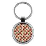 Modernist Geometric Tiles Key Chains (Round)
