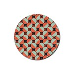 Modernist Geometric Tiles Rubber Coaster (Round)