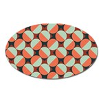 Modernist Geometric Tiles Oval Magnet Front