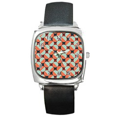 Modernist Geometric Tiles Square Metal Watch by DanaeStudio