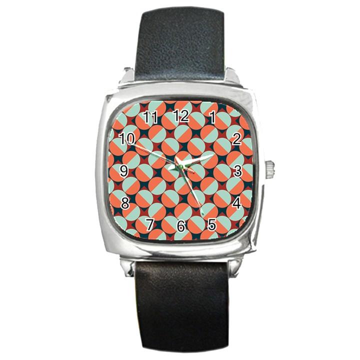 Modernist Geometric Tiles Square Metal Watch