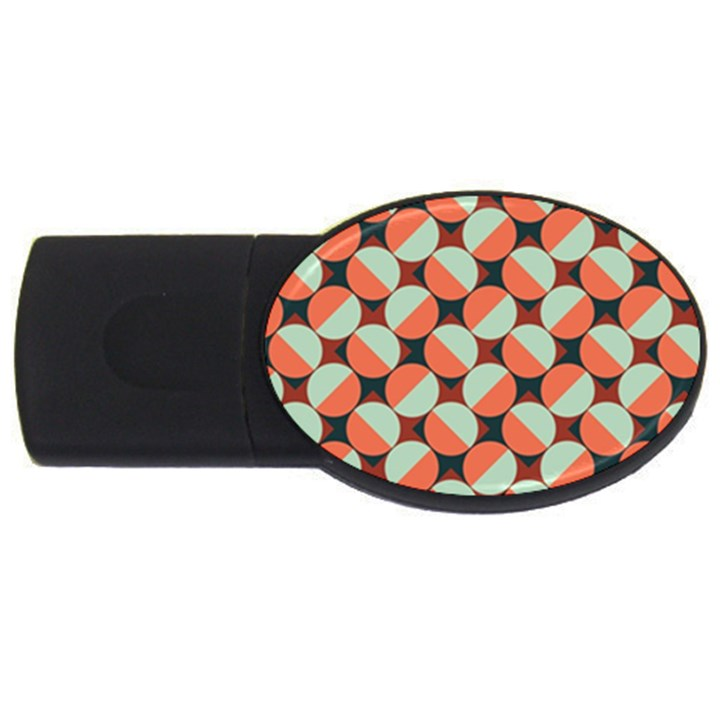 Modernist Geometric Tiles USB Flash Drive Oval (4 GB)