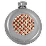 Modernist Geometric Tiles Round Hip Flask (5 oz) Front