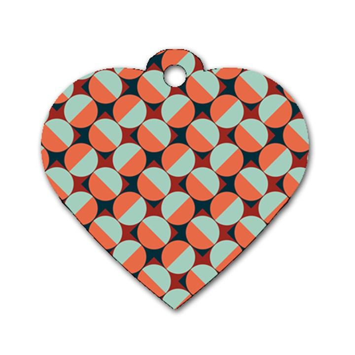 Modernist Geometric Tiles Dog Tag Heart (One Side)
