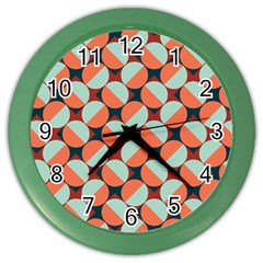 Modernist Geometric Tiles Color Wall Clocks by DanaeStudio