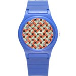 Modernist Geometric Tiles Round Plastic Sport Watch (S) Front