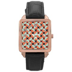 Modernist Geometric Tiles Rose Gold Leather Watch  by DanaeStudio