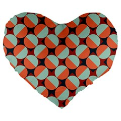 Modernist Geometric Tiles Large 19  Premium Flano Heart Shape Cushions by DanaeStudio