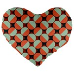 Modernist Geometric Tiles Large 19  Premium Flano Heart Shape Cushions