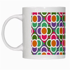 Modernist Floral Tiles White Mugs by DanaeStudio