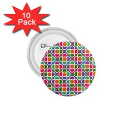 Modernist Floral Tiles 1 75  Buttons (10 Pack)