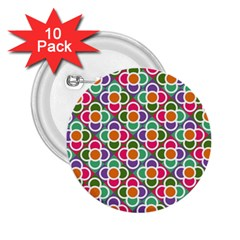 Modernist Floral Tiles 2 25  Buttons (10 Pack)