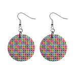 Modernist Floral Tiles Mini Button Earrings