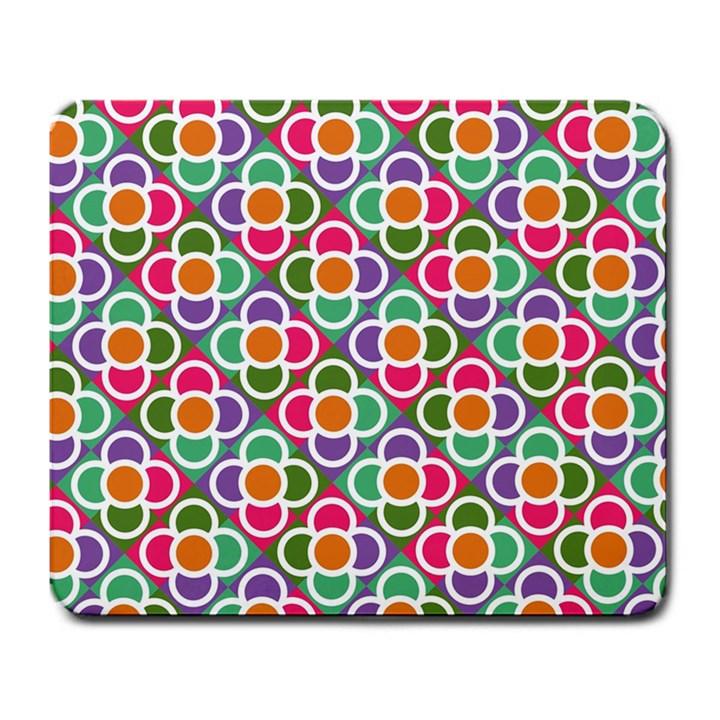 Modernist Floral Tiles Large Mousepads