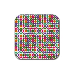 Modernist Floral Tiles Rubber Coaster (square)  by DanaeStudio