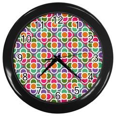 Modernist Floral Tiles Wall Clocks (black) by DanaeStudio
