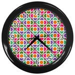 Modernist Floral Tiles Wall Clocks (Black)