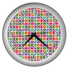 Modernist Floral Tiles Wall Clocks (Silver)