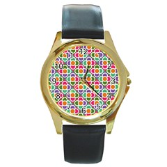 Modernist Floral Tiles Round Gold Metal Watch
