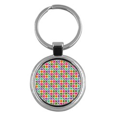 Modernist Floral Tiles Key Chains (round)