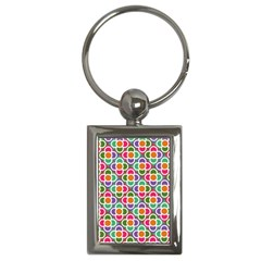 Modernist Floral Tiles Key Chains (Rectangle)