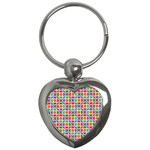 Modernist Floral Tiles Key Chains (Heart)