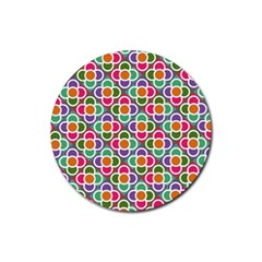 Modernist Floral Tiles Rubber Coaster (round)  by DanaeStudio