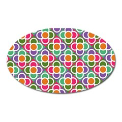 Modernist Floral Tiles Oval Magnet by DanaeStudio