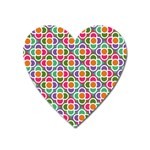 Modernist Floral Tiles Heart Magnet