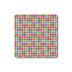Modernist Floral Tiles Square Magnet by DanaeStudio