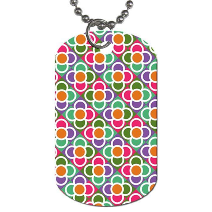 Modernist Floral Tiles Dog Tag (Two Sides)