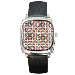 Modernist Floral Tiles Square Metal Watch by DanaeStudio