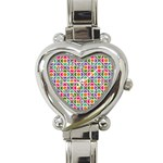 Modernist Floral Tiles Heart Italian Charm Watch