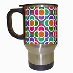 Modernist Floral Tiles Travel Mugs (White)
