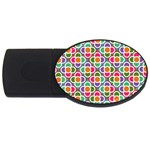 Modernist Floral Tiles USB Flash Drive Oval (4 GB)