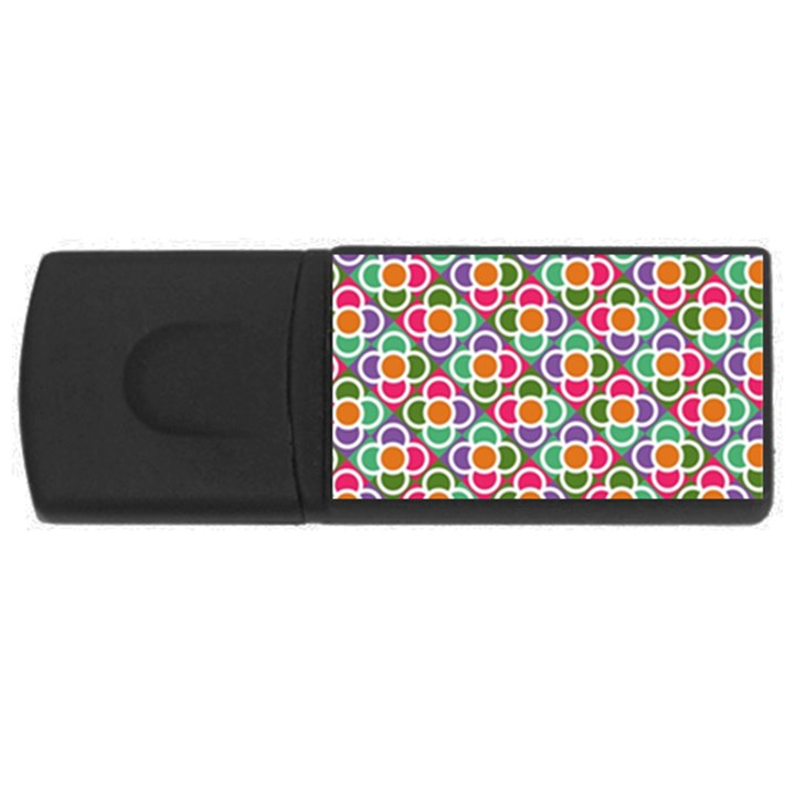 Modernist Floral Tiles USB Flash Drive Rectangular (4 GB)
