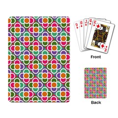 Modernist Floral Tiles Playing Card by DanaeStudio