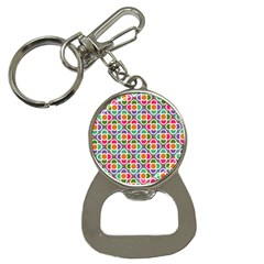 Modernist Floral Tiles Bottle Opener Key Chains