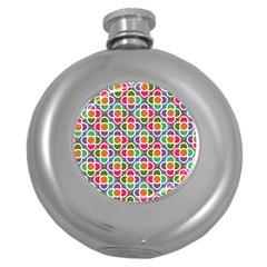 Modernist Floral Tiles Round Hip Flask (5 Oz) by DanaeStudio