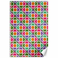 Modernist Floral Tiles Canvas 12  X 18   by DanaeStudio