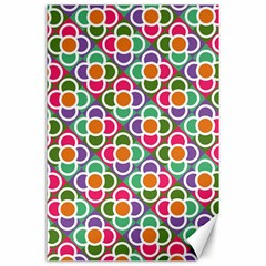 Modernist Floral Tiles Canvas 24  X 36  by DanaeStudio