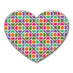 Modernist Floral Tiles Heart Mousepads