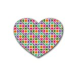 Modernist Floral Tiles Rubber Coaster (Heart)  Front