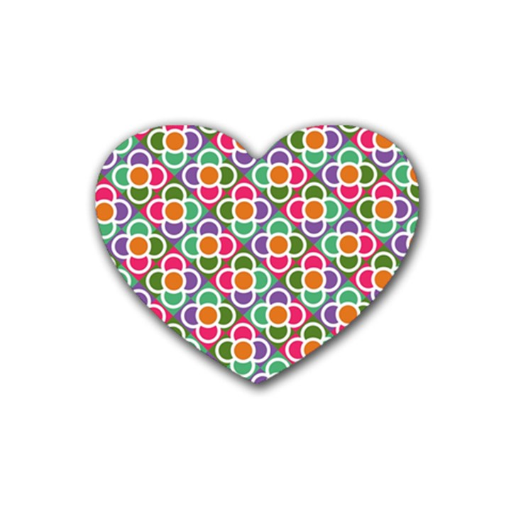 Modernist Floral Tiles Rubber Coaster (Heart)
