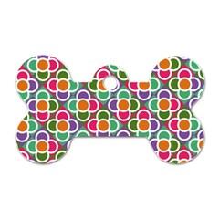 Modernist Floral Tiles Dog Tag Bone (one Side) by DanaeStudio