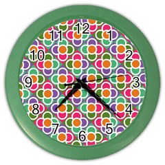Modernist Floral Tiles Color Wall Clocks by DanaeStudio