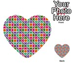 Modernist Floral Tiles Multi-purpose Cards (Heart)  Back 54